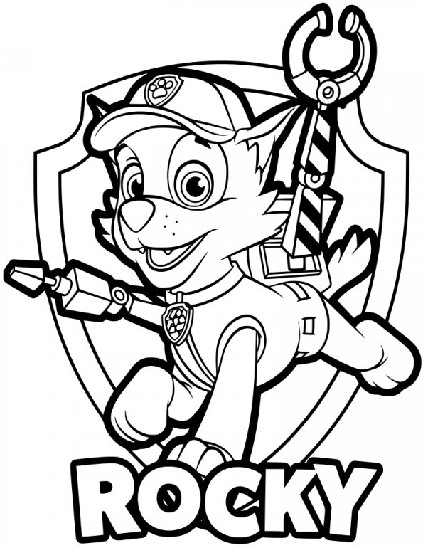 Rocky Paw Patrol Coloring Lesson Kids Coloring Page – Coloring Lesson –  Free Printables And Coloring Pages For Kids